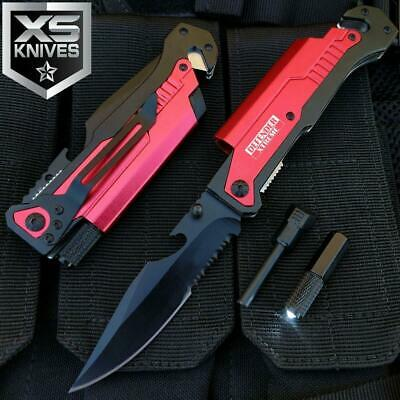 Red EDC Tactical Assisted Open LED Multifunction Pocket Knife Survival MULTITOOL