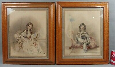 Pair Antique English Watercolors Painting Young Ladies Women & Dog 19th C.