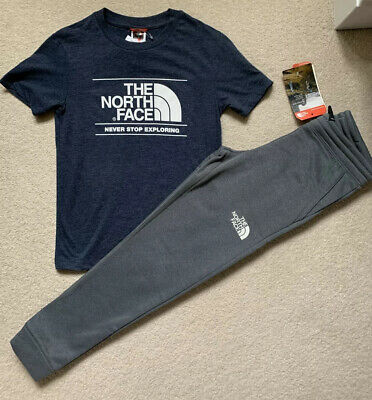 Boys The North Face Bundle Tracksuit Bottoms/TShirt New Authentic Age  7-8