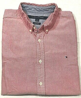 Tommy Hilfiger Mens Long Sleeve Button Down Oxford Shirt Custom Fit Sz L