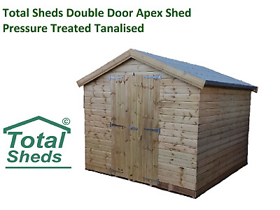 Total Sheds DOUBLE DOORS Garden Apex Shed Pressure Treated Tanalised T&G