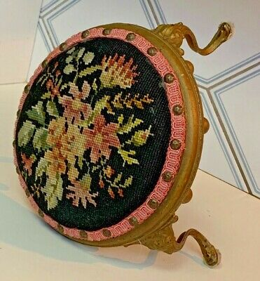 Antique 1880's French Rococo brass Needlepoint cushion dainty ladies foot stool