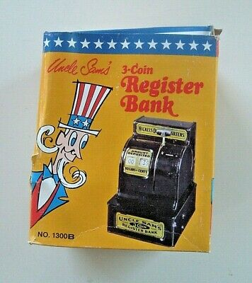 Uncle Sam's 3 Coin Cash Register Bank mechanical tin toy Western Stamping MINT