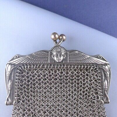 Fine Sterling Silver Egyptian Revival Mesh Purse / Antique Chatelaine Wallet