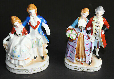 Set of 2 Figurines Victorian Men and Women Made in Occupied Japan