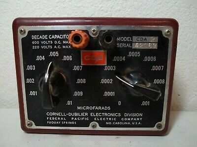 """Cornell-Dubilier Electronics """"Decade Capacitor"""" Model CDA 2 -Vintage - 1960's"""