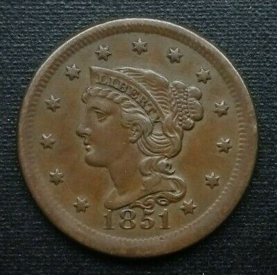 1851 Braided Hair Large Cent, About Uncirculated  ~  Superb Example!