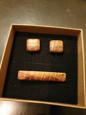 Whiskey whisky Wood Craft Oak cask Cufflinks Tie Pin set gift NEW