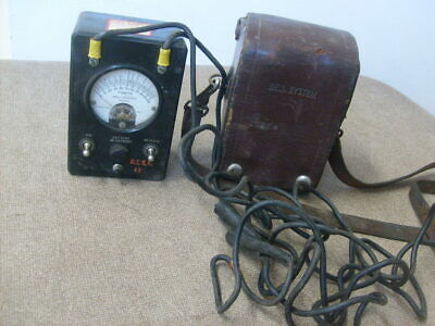 Bell System Ohm Test Meter With Leather Case KS-8455 Vintage test equipment