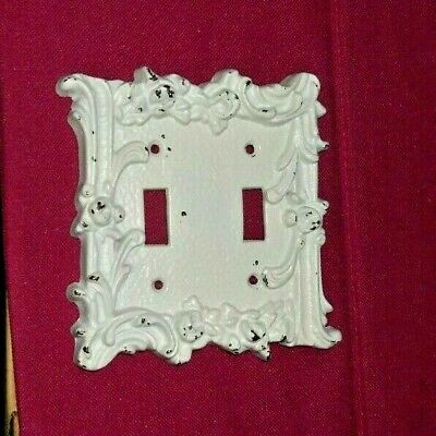 Ornate Double Light Switch Plate Cover Antiqued White Over Solid Brass