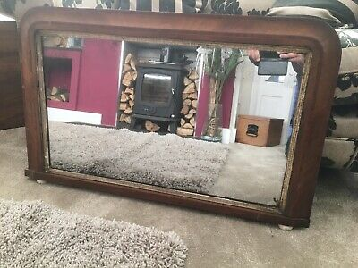 Early 20th Century Mirror With Walnut Veneer Frame With Marquetry Inserts