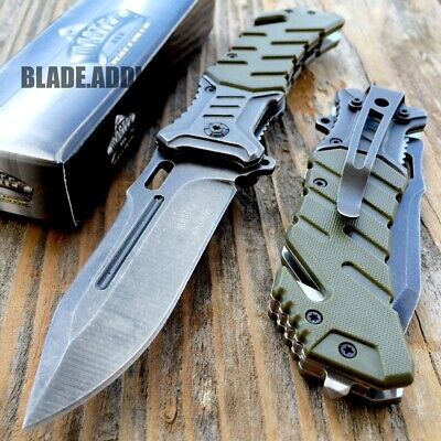 "8"" BALLISTIC Tactical Combat Assisted Open Spring Pocket Rescue Knife EDC G-W"