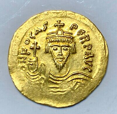 Ancient Byzantine Gold Coin Phocas. 602-610 Ad Solidus, Nice Detail!