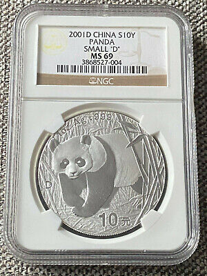 2001-D Silver CHINA Panda Coin NGC 10Y MS69 (MS 69) Small D