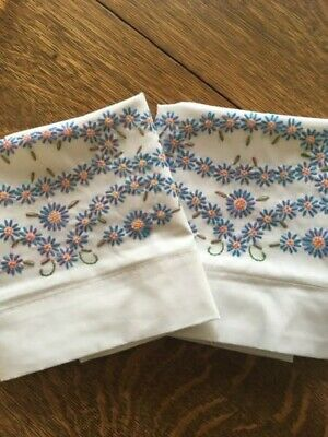 Vintage Handmade & Hand Embroidered PILLOW CASES 22x31 Teal Peach Green Floral