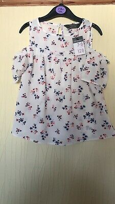 Girls Age 7-8 Years Primark Floral Print Thin Floaty Cold Shoulder Top Nwt