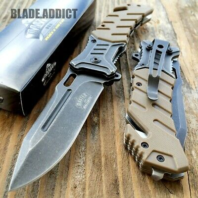 "8"" BALLISTIC Tactical Combat Assisted Open Spring Pocket Rescue Knife EDC-W"