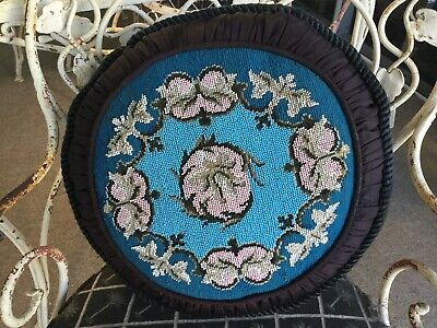 Antique Vintage Late Victorian French Hand Beaded Needlepoint Pillow Silk Moire
