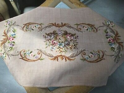 Antique lg needlepoint~petit point seat~cushion~pillow cover Floral Roses Garden