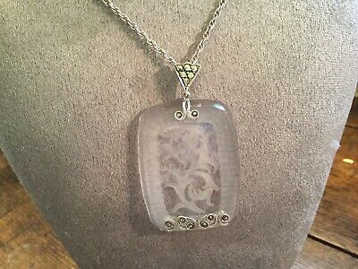 Antique Art Deco Germany Sterling Etched Frosted Crystal~Marcasite Pendant~Drop