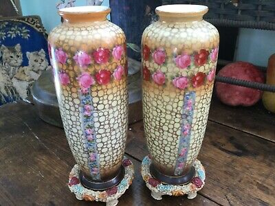 Antique Vintage Pr Hand Painted Czech Vases on Cast Iron Bases with PINK Roses