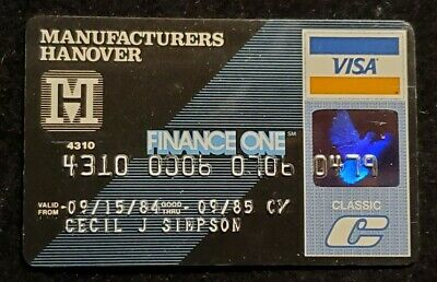 Manufactures Hanover Finance One Classic Visa exp 1985♡Free Shipping♡cc905♡