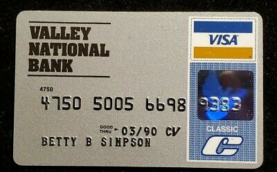 Valley National Bank Arizona Visa Clasic exp 1990 ♡Free Shipping♡cc901♡