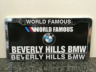 World Famous Beverly Hills BMW Dealership License Plate Frame New. Plastic