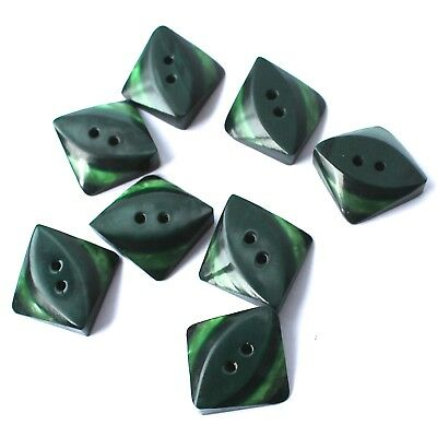 Art Deco Bakelite Buttons Green Layered Two Tone Square 2 Hole Set of 8 D20mm