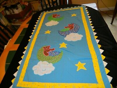 Charming Hand Crafted /Machine Sewn Bears In The Moon Baby Quilt