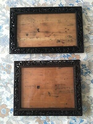 2 Antique Chinese Hand Carved Cherry Blossom Wood Frames Vintage Oriental