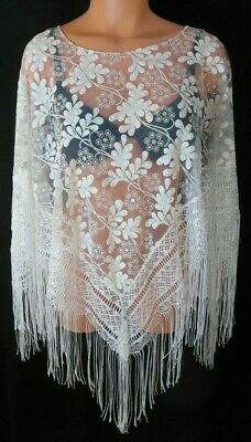 Sexy White Pullover Shawl Style One Size Floral Sparkly Lace Top 100% Poly