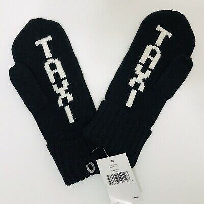 Kate Spade New York NYC Taxi Knit Mittens Black White One Size NEW