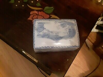Antique Chinese Export  Enamel Porcelain Trinket Box Old Asian China