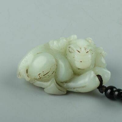 Chinese Exquisite Hand-carved Cattle carving Hetian jade pendant