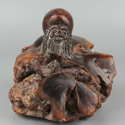 Chinese Exquisite Hand-carved Old man carving Wooden statue
