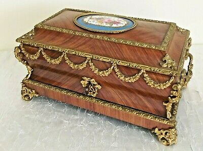 19C Kingwood Bronze Mounted Hinged Box- Bronze Mounts & Porcelain Sevres Plaques