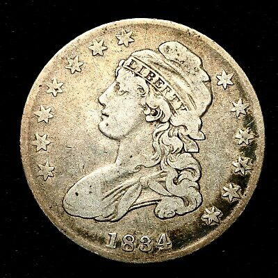 1834 ~**BETTER GRADE**~ Silver Capped Bust Half Dollar Antique US Old Coin! #R50