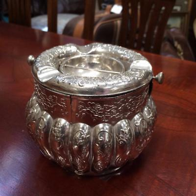 Antique Vintage Asian Silver Plated Large Ashtray Bowl Ornate Collectable