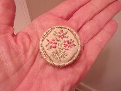 Antique LOOK  Dollhouse Miniature  FOOT  STOOL,  Pink Flowers, Fringe, Round