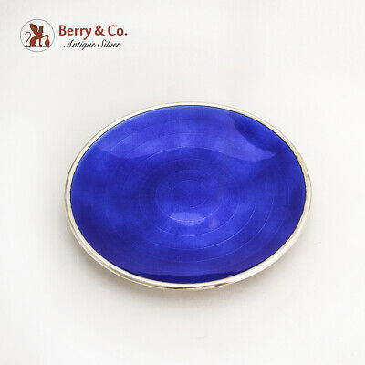 David Andersen Blue Guilloche Enamel Dish Plate Gilt Sterling Silver Norway