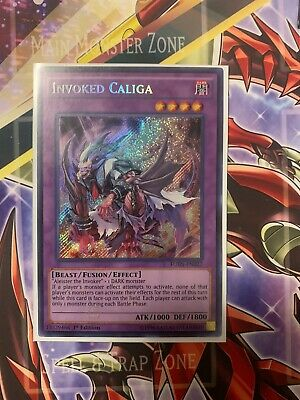 Yugioh Invoked Caliga FUEN Secret Rare, near-mint, 1st ed