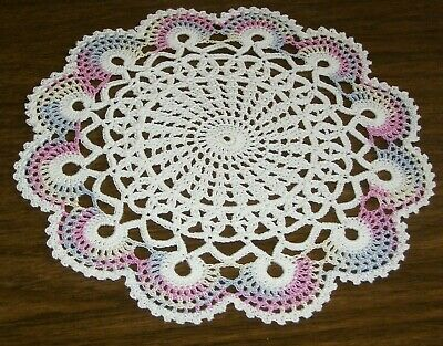 "Crochet Doily Scallops White Pastels Pink Blue Violet Easter 10 1/2"" new"