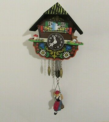 German Novelty Bouncing Small Cuckoo Clock With Animated Blue Bird On Case