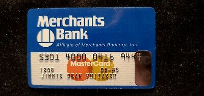 Merchants Bank MasterCard credit card exp 1985♡Free Shipping♡cc669
