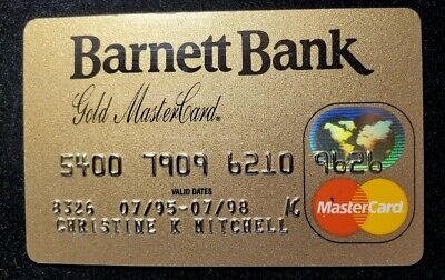 Barnett Bank Gold Bank MasterCard credit card exp 1998♡Free Shipping♡cc640♡