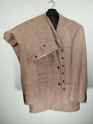Mens Size 46L 41x32 Paul Fredrick Brown/Tan Flecked Two Button Three Piece Suit