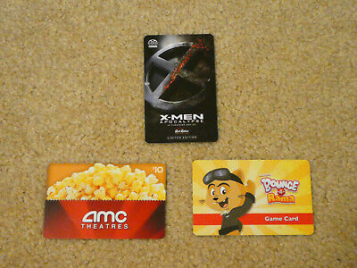 Lot of 3 - $0 Value Collectible Gift Cards (X-Men, AMC, Bounce-a-Rama)
