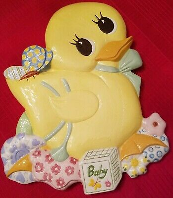 Vintage 1979 Macky Ceramic Molds Yellow  Duck Baby Easter Wall Plaque