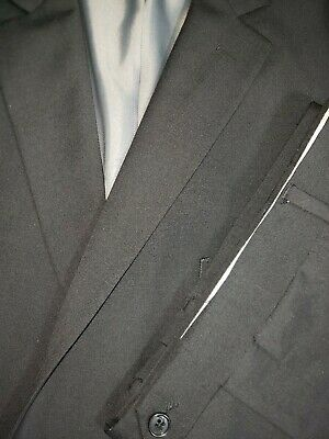 Mens Size 52R 47x31 Wilke Rodriguez Modern Fit Black WOOL Two Btn Two Piece Suit